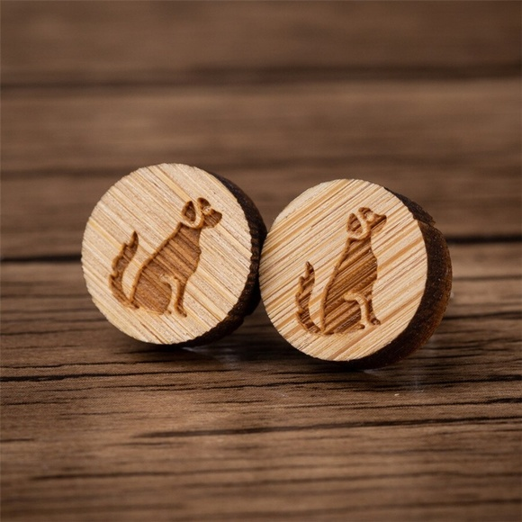 Urban Outfitters Jewelry - Urban Outfitters Vintage Wooden Dog Stud Earrings